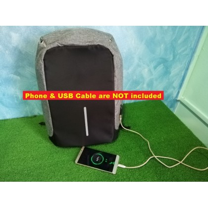 Anti Theft Backpack (with USB port, Grey)